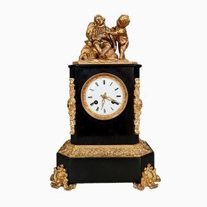 Napoleon III Clock in Bronze and Black Marble Featuring Figures of Children & Rocaille Style Fresco, 1850s