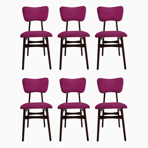20th Century Restored Chairs in Fuchsia Wool and Wood, 1960s, Set of 6