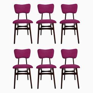 Restaurierte Stühle aus Fuchsia Wolle & Holz, 1960er, 6er Set