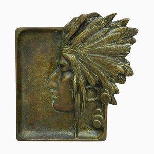 American Native Head Bronze Dish