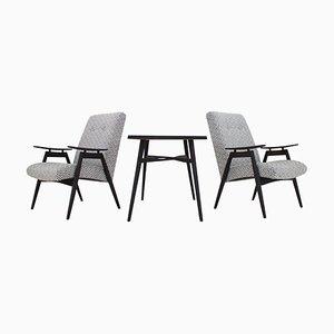 Armchairs and Coffee Table, Czechoslovakia, 1960s, Set of 3
