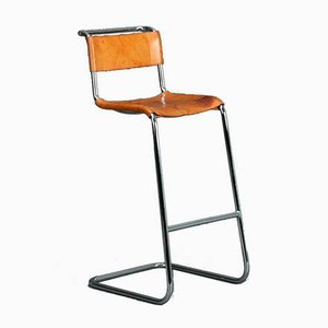 Thonet S39 Cognac Leather Bar Stool by Mart Stam