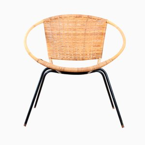 Scandinavian Rattan Round Side Chair, 1950s