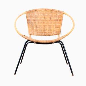 Scandinavian Rattan Round Side Chair, 1950s