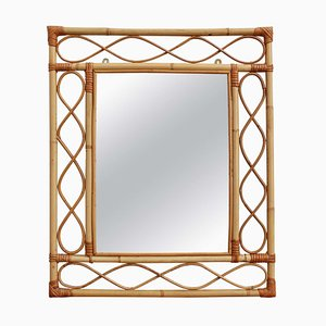 French Rattan Wall Mirror, 1960s