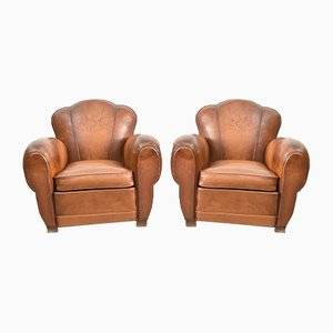 French Leather Club Chairs, Set of 2