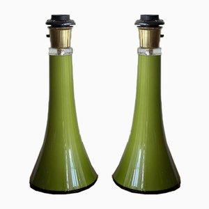 Mid-Century Tischlampe aus grünem Glas von Gert Nyström für Hyllinge, 1960er