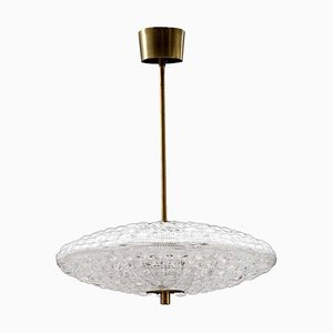 Crystal Flying Saucer Pendant Lamp by Carl Fagerlund for Orrefors