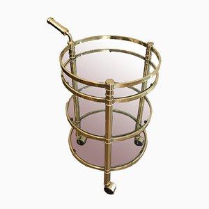 Round Brass Drinks Trolley