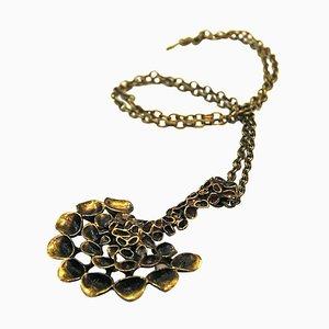 Decorative Halfcircle Shaped Bronze Necklace by Hannu Ikonen, Finland, 1970s