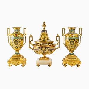 Vases with Pompeian Decoration, 19th Century, Set of 3