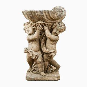 Putti und Muschel Statue aus Latte Marmor, frühes 20. Jh
