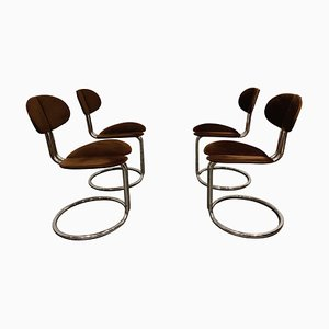 Vintage Italian Chrome Dining Chairs by Giotto Stoppino, 1960s, Set of 4