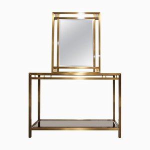 Brass Console Table with Mirror, 1970s, Set of 2