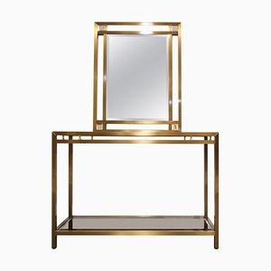 Messing Konsolentisch mit Spiegel, 1970er, 2er Set