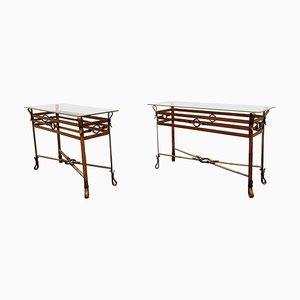 Mid-Century Faux Leather Console Tables in the Style of Jacques Adnet, 1960s, Set of 2