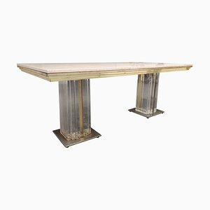 Vintage Lucite, Brass and Travertine Dining Table, 1970s