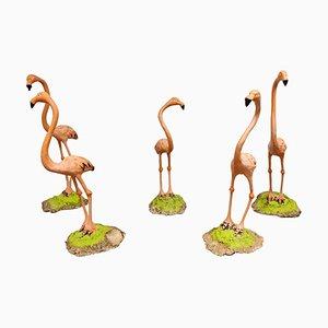 Flamingo Skulpturen aus Beton, 1970er, 5er Set