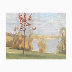 René Martin, Paysage d'automne et vue sur le lac, 1930