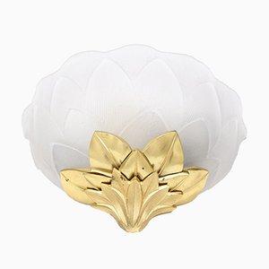 Bronze Lotus Wandlampen von Lucien Gau, 2er Set