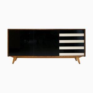 Black Lacquered Glass Sideboard by Jiří Jiroutek, Czechoslovakia, 1960s