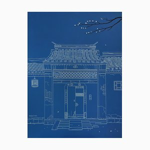 Contemporary Chinese Painting by Jia Yuan-Hua, Night in Hutong, 2017
