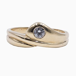 Vintage 14k Yellow Gold Ring with Cut Diamond, 1970s
