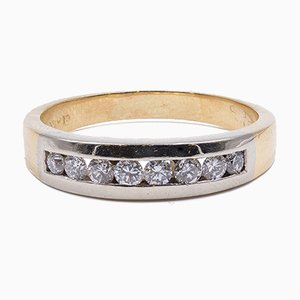 18k Two-Tone Gold Riviera Ring with Diamonds, 1970s