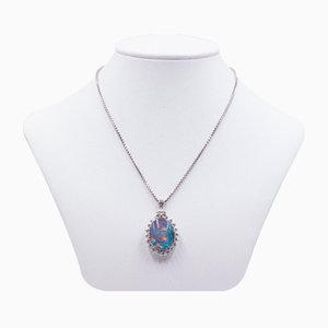Vintage 14k White Gold Necklace with Triplet Opal Pendant and Diamonds