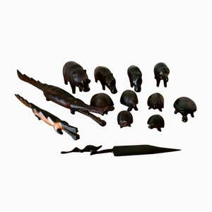 African Wooden Animal Statues, Mid 20th-Century, Set of 13