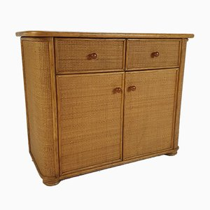 Hollywood Regency Bamboo and Straw Cabinet, 1960s