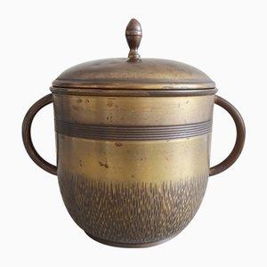 Art Nouveau Brass Bowl Pot with Glass Insert from WMF