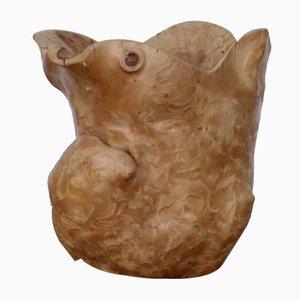 Hand Carved Burl Wood Jug, 1970s