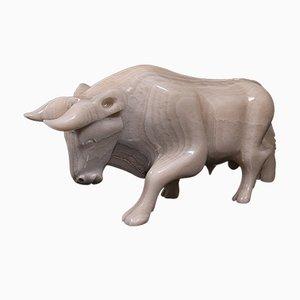 Vintage English White Onyx Carved Bull, 1950s