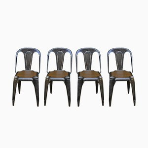Stacking Chairs with Brushed Finish and Satin Varnish Interior by Joseph Mathieu Lyon, 1930s, Set of 6