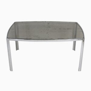 Table in Chromed Metal with Curved Smoked Glass Slab Top, France, 1970s