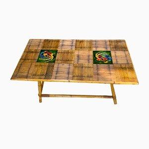 Tavolino da caffè in bambù e ceramica di Audoux & Minet per Vallauris, anni '60