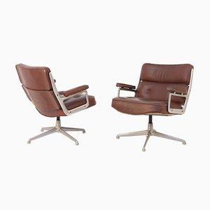 Sillas modelo Soft Pad de cuero marrón y acero de Herman Miller. Juego de 2