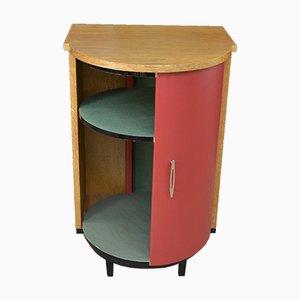 Bar Cabinet in Oak Veneer & Faux Leather with 1 Sliding Door, 1950s
