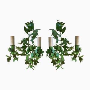 Tole Vine Leaf Wall Lights, Set of 2