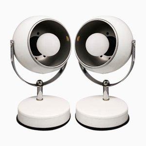 Weiße Eyeball Tischlampen von Veneta Lumi, Italien, 1970er, 2er Set