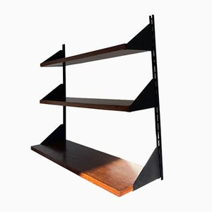 Shelves in Rosewood and Black Lacquered Metal, 1950s