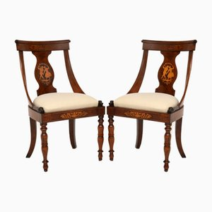Antique Inlaid Neoclassical Side Chairs, Set of 2