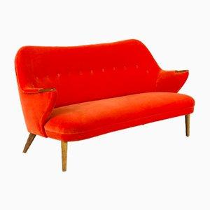 Orangefarbenes Mid-Century 3-Sitzer Samtsofa von CFC Silkeborg, 1960er