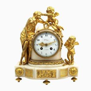 Napoleon III Pendeluhr aus vergoldeter Bronze und Marmor, 19. Jh