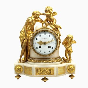 Napoleon III Pendulum Clock in Gilt Bronze and Marble, 19th Century