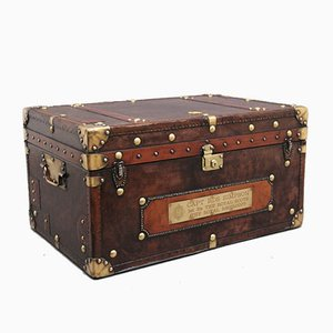 Early 20th-Century Leather Bound Army Trunk