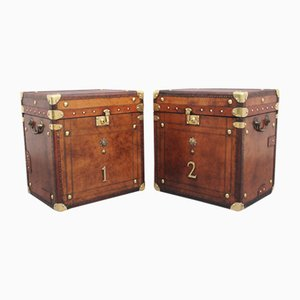 Early 20th-Century Leather Bound Army Trunks, Set of 2