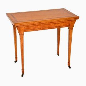 Table à Cartes Édouardienne Antique en Bois de Satin