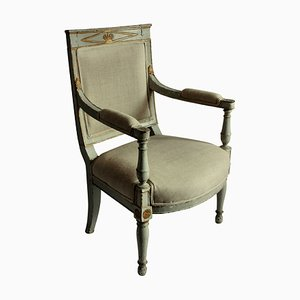 Antique Wood and Linen Armchair